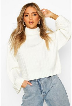 Cream Wide Sleeve Rib Knit Jumper