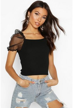 Womens Black  Square Neck Puff Organza Knitted Top