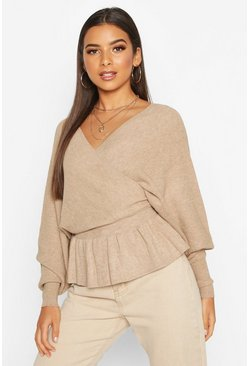 Womens Beige Batwing Wrap Front Slouchy Jumper
