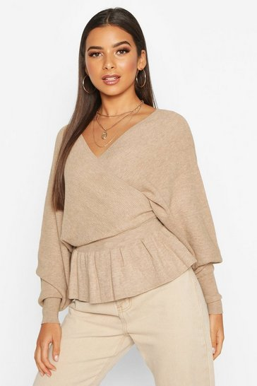 Womens Batwing Wrap Front Slouchy Jumper