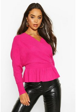 Dam Fuchsia Batwing Wrap Front Slouchy Jumper