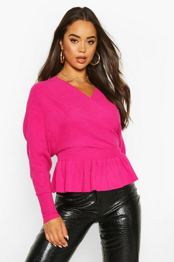 Batwing Wrap Front Slouchy Jumper