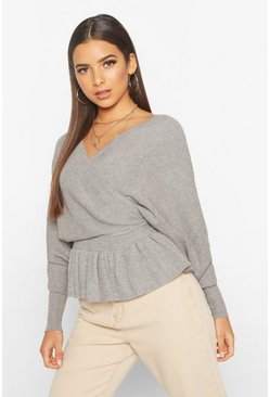 Grey Batwing Wrap Front Slouchy Jumper