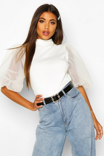 Womens White Puff Sleeve Mesh Rib Knitted Top