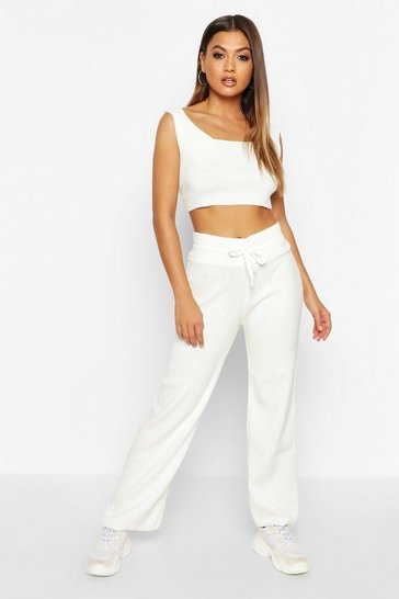 Womens Ecru Scoop Neck Knitted Crop And Jogger Set