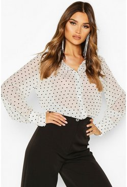 Womens White Metallic Heart Print Sheer Volume Sleeve Shirt