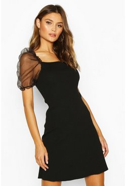 Dam Black Organza Puff Sleeve Rib Knit Dress