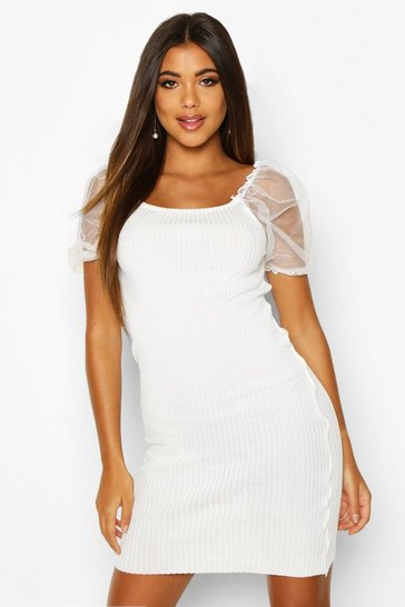 Womens White Organza Puff Sleeve Rib Knit Dress