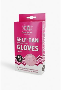 Womens Pink Cocoa Brown Self Tanning Gloves