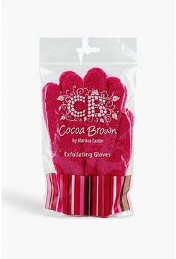 Womens Pink Cocoa Brown Exfoliating Gloves