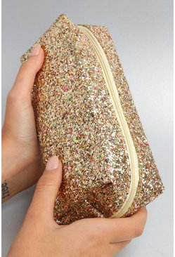 Womens Gold Christmas Chunky Glitter Makeup Bag