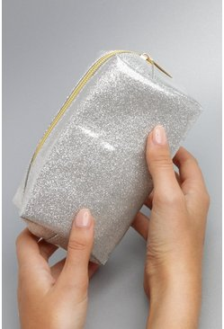 Womens Silver Glitter Makeup Bag