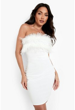 Womens White Bandeau Feather Mini Bodycon Dress