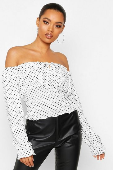 White Polka Dot Ruched Tie Front Top