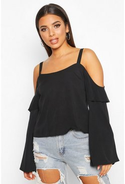 Womens Black Cold Shoulder Ruffle Flared Sleeve Top