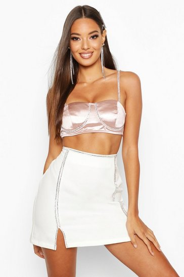 Womens Nude Diamante Strap Bralet