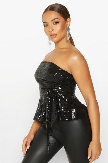 Womens Black Sequin Peplum Tie Waist Top