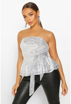 Womens Silver Sequin Peplum Tie Waist Top