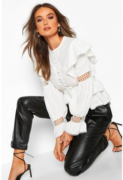 Womens White Lace Up Crochet Ruffle Detail Top