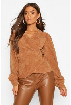 Womens Camel Cord Wrap Puff Sleeve Top