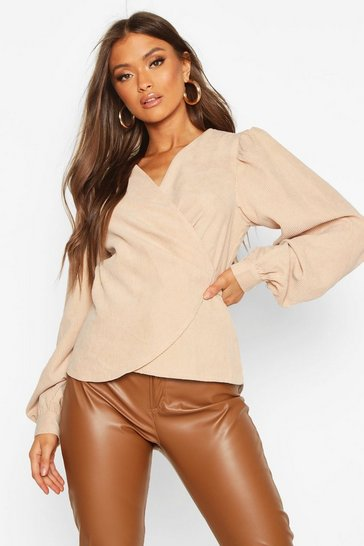 Womens Stone Cord Wrap Puff Sleeve Top