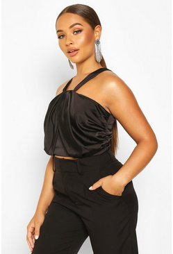 Womens Black Drape Front Satin Crop