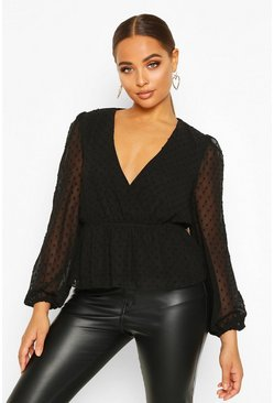 Black Dobby Spot Wrap Peplum Top