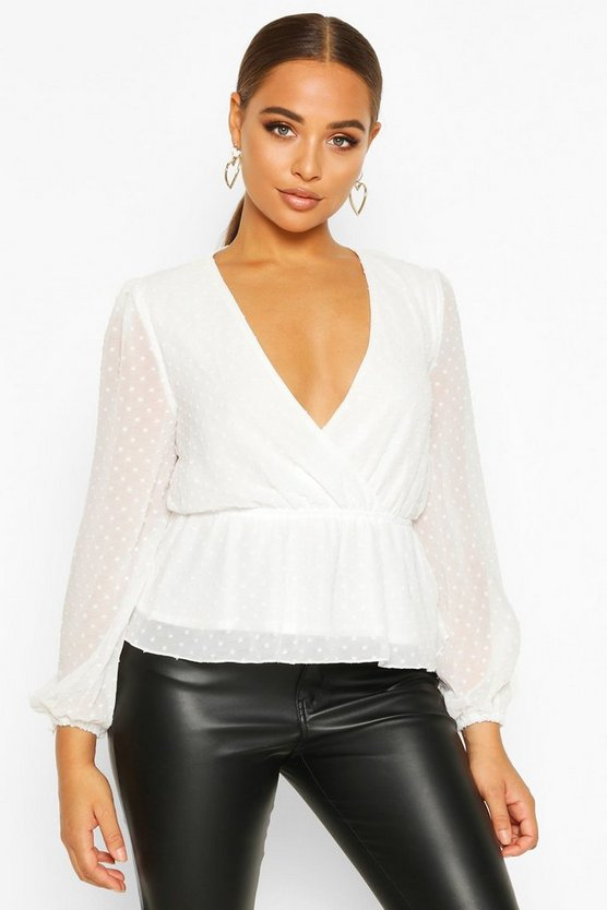 White Dobby Spot Wrap Peplum Top