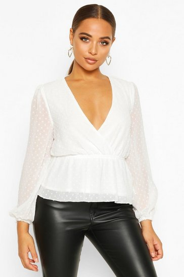 Womens White Dobby Spot Wrap Peplum Top