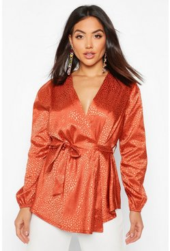 Womens Rust Animal Satin Wrap Blouse