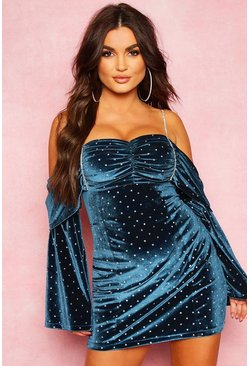 Womens Teal Spotted Velvet Diamante Trim Mini Dress
