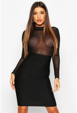 Dam Black High Neck Mesh Bandage Bodycon Dress