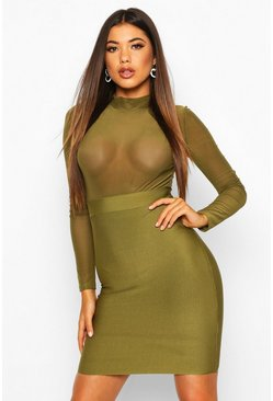 Womens Olive High Neck Mesh Bandage Bodycon Dress