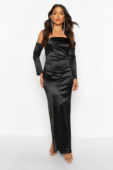Womens Black Off Shoulder Maxi Dress