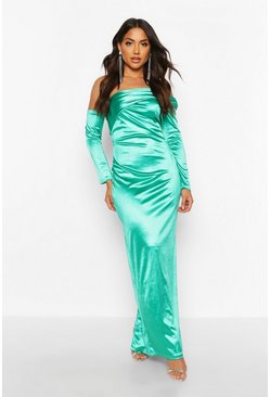 Womens Emerald Off Shoulder Maxi Dress