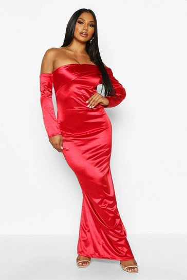 Red Off Shoulder Maxi Dress