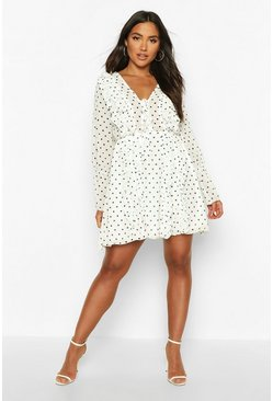 White Polka Dot Ruffle Skater Dress