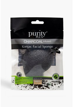 Esponja Konjac con infusión de carbón Purity Plus, Negro