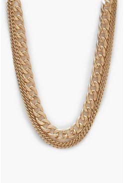 Womens Burnished Gold Triple Chain Necklace