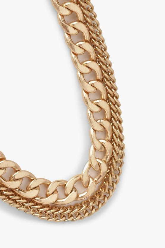 Burnished Gold Triple Chain Necklace