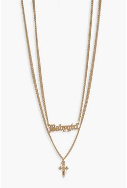 Gold Cross And Chunky Chain Necklace