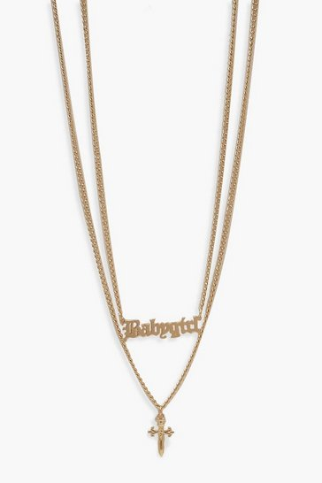 Womens Gold Cross And Chunky Chain Necklace