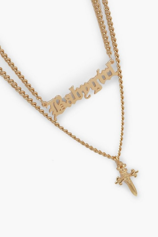 Cross And Chunky Chain Necklace