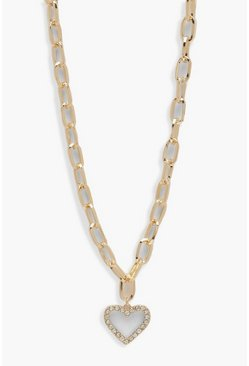 Womens Gold Diamante Heart Chain Link Necklace