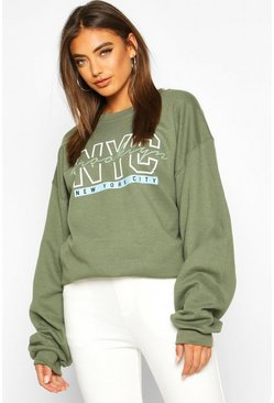 Womens Olive NYC Brooklyn Slogan Print Sweatshirt