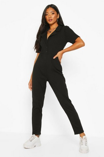 Womens Black Soft Ribbed Collar Detail Button Through Jumpsuit