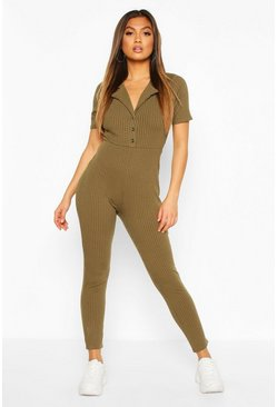 Khaki Soft Ribbed Collar Detail Button Through Jumpsuit