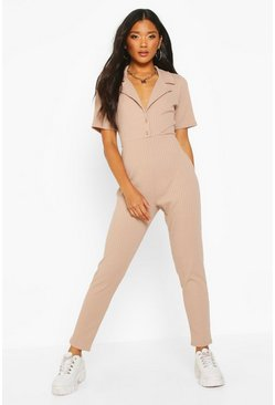 Womens Taupe Soft Ribbed Collar Detail Button Through Jumpsuit
