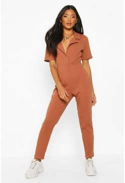 Toffee Soft Ribbed Collar Detail Button Through Jumpsuit