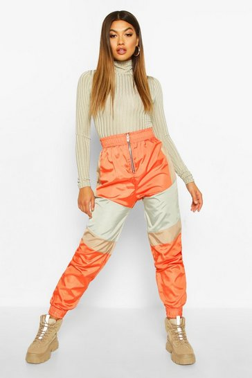 Womens Burnt orange Zip Front Panelled Shell Joggers
